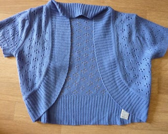 Short Bolero Jacket blue knitted Tee M