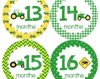 Tractor Monthly Onesie Stickers Year 2 - Green Yellow tractors Second Year 13 to 24 months