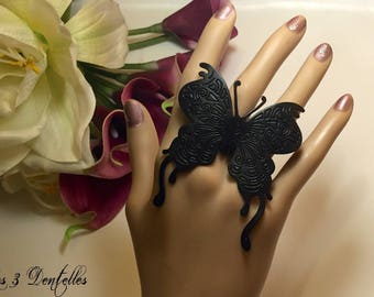 Leather Butterfly ring * 3 lace *.