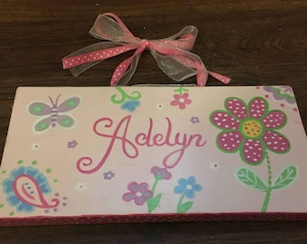 pink flower and butterfly name sign, girls name plaque, child's name sign