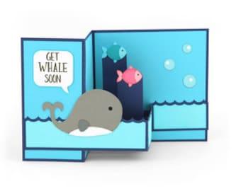 Get well Soon Pop Up Card , Whale , Fish , Water , Men , Women , Teens , Kids , Ocean , Sea , PaperCut