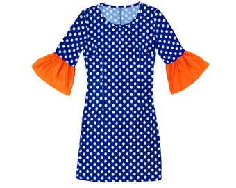Blue + White Polka Dot Dress with Orange Trumpet Sleeves