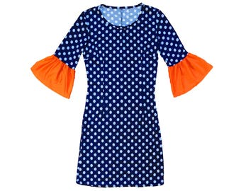 Navy + White Polka Dot Dress with Orange Trumpet Sleeves