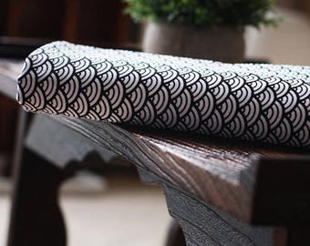cotton fabric stripe wave clothing black white 3 m