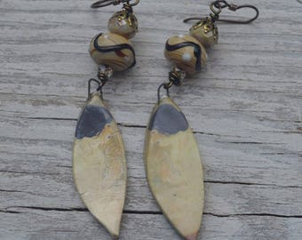 Japanese ceramic and lamp work earrings - ScorchedEarth - DayLilyStudio