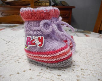 BABY BOOTIES 0-3 MONTHS PINK PURPLE