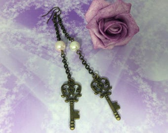 Earrings romantic long chain and beads