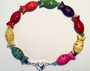 Colorful fish beaded collar, cat collar, small dog collar, breakaway collar