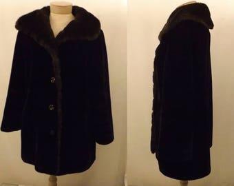 60's Ultra-Seal Black Faux Fur Coat by Sportowne Size 12 / 14