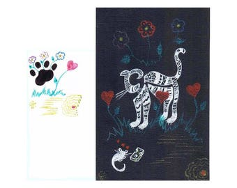 """Art original drawing """"stylized cat and mouse"""" card on black drawing paper"""