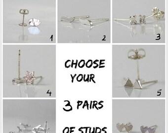 SUMMER SLE Silver stud earrings, Set of 3 pairs studs earrings , Sterling silver, tiny studs, set earrings