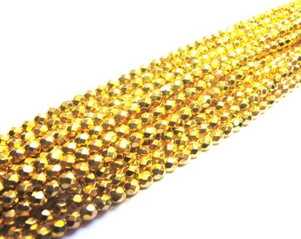 25 ROUND FACETED 4 MM CRYSTAL BEADS