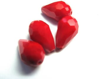 4 RED 10/15 MM FACETED CRYSTAL DROPS