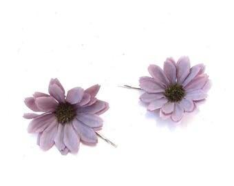 2 x Lilac Grey Light Purple Daisy Flower Hair Grips Clips Bobby Pins Slides 3351