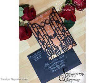 pumpkins and iron gate wedding invitation gatefold laser cut autumn fall halloween party
