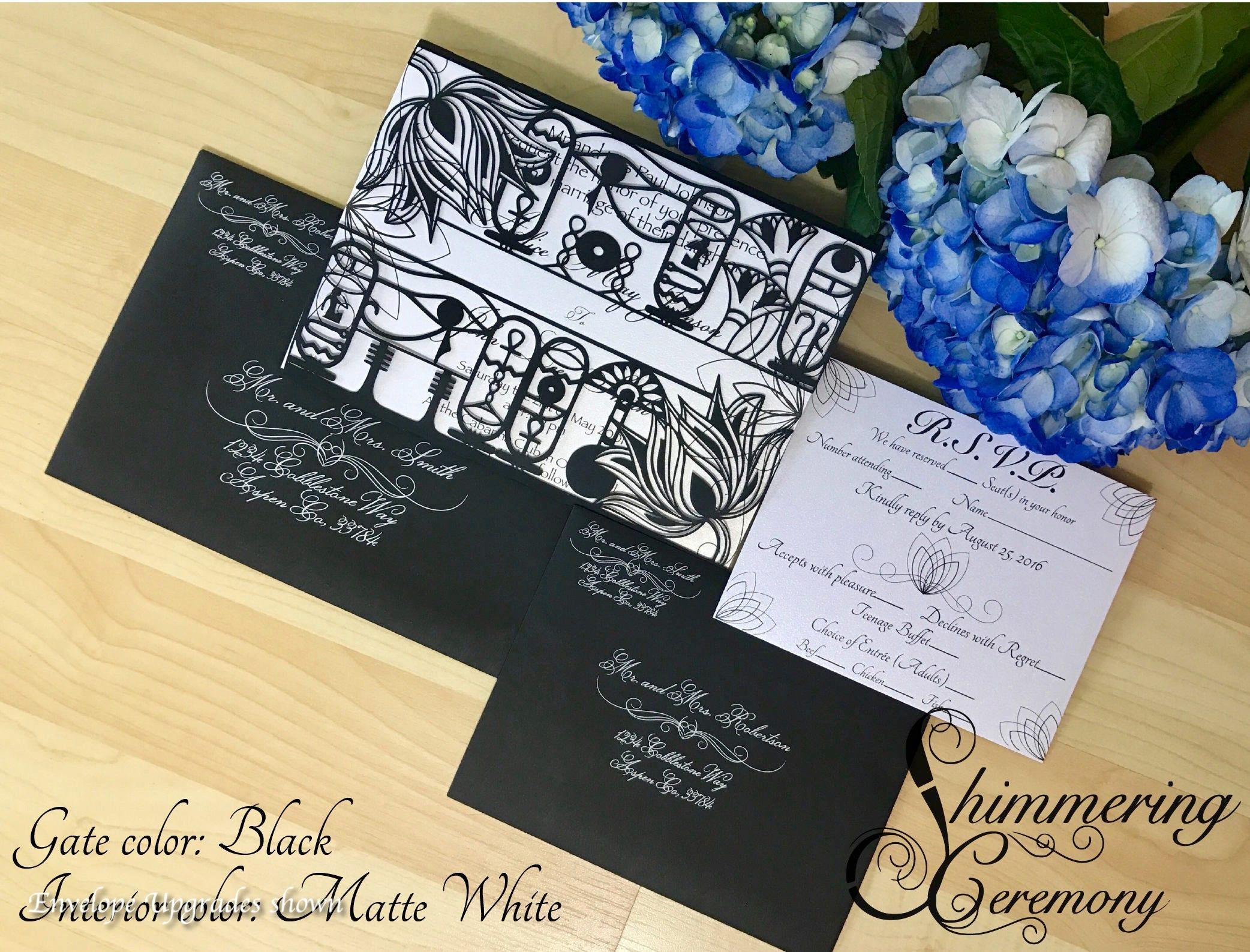Egyptian wedding invitation laser cut gatefold with RSVP card ...