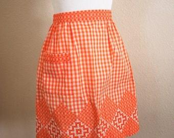 Vintage Tangerine Orange Gingham Cross-Stitched Apron