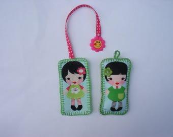 Bookmark and Keyring set girl fabric