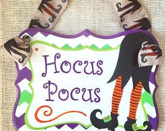 Halloween door hanger - hocus pocus - Trick or treat - witch sign