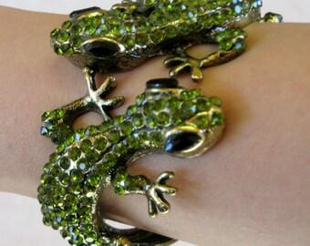 Green rhinestone gecko bracelet