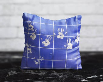 Blue Tile Pillow Cover Accent Pillow Style Cushion Cover Handprints PillowCase Geometric Throw Pillow Cover Silk Pillow Satin Home Decor
