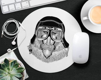Monkey Mouse Pad Animal in Glasses Gorilla Mouse Mat Funny MousePad Cute Kids Mouse Pad Hipster MouseMat Animal Lover Gift Desk Accessories