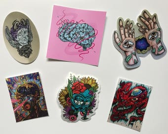 Psychedelic VINYL sticker pack (6)