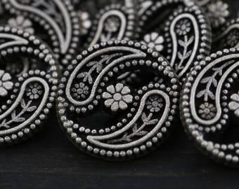 Antique Silver Metal Button/ 4 pcs/ Yin Yin Daisy/ Shank Button/ Small Metal Button 15mm 24 Ligne 5/8' BL046