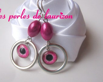 Pink cat's eye earrings