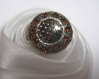 wedding Brown Crystal beads ring of gold and Brown