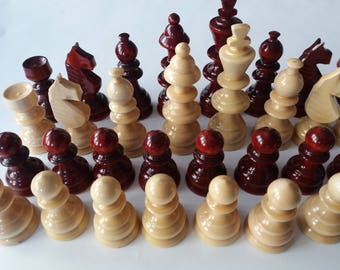 Huge chess piece set new handmade handspindled special design cherry color big, King is 4.72 inch or 12 cm gift toy educational board game