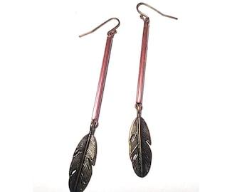 Simple Brass Feather Earrings