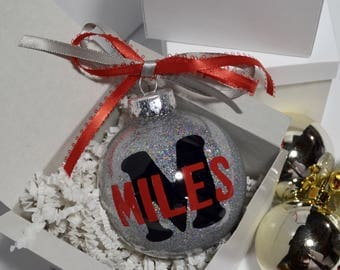 Personalized Christmas Ornament, Children's Ornament, Glitter Monogram Ornament