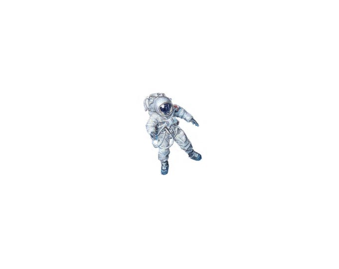 Print of Miniature painting of an Astronaut, archival print of an Astronaut tiny painting, tiny art 5 x 5