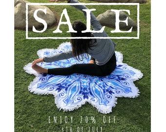 NOW SALE 20% OFF Blue Watercolor Mandala Flower Round Beach Yoga Luxury Towel Bohemian Blanket