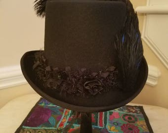 Black on Black Stevie Nicks Inspired Top Hat - Sara II