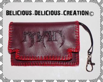 Original Coin Purse !! MAN !! In leatherette bordeaux Taille:12cm x 8cm belicious-delicious-creation