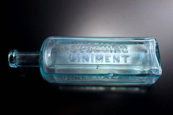 Antique Bottle, Jadwin's Subduing Liniment, Aqua, Embossed, Applied Top, Circa 1890s, Patent Medicine, Quack Medicine, Pharmaceutical