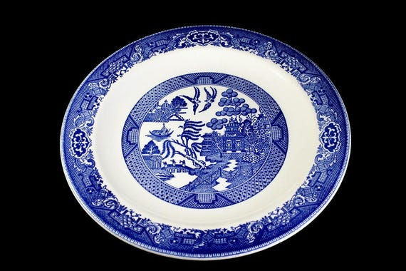 Round Platter, Chop Plate, Blue Willow, Blue and White, Collectible, Display Plate