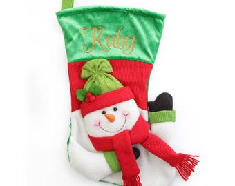Personalised 3D Snowman Christmas Stocking