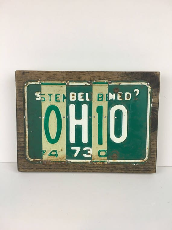 Ohio License Plate Sign - License Plate Wall Art - Rustic Sign