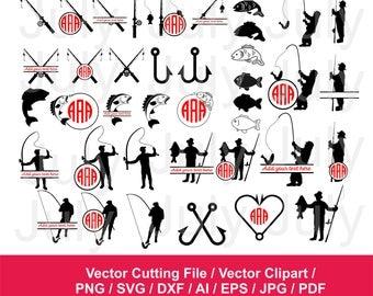 70 % OFF, Fishing SVG, dxf, png, eps, ai, pdf, jpg, Fishing Clipart, Fishing Monogram Frames,  Fish Hook svg, Fishing Cut File