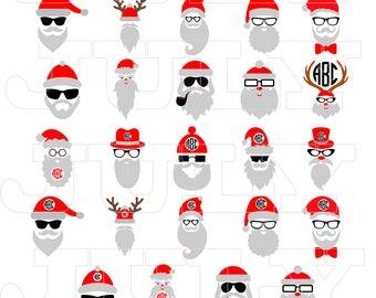 70 % OFF, Hipster Santa svg, Hipster Santa Clipart, Santa Claus, Christmas SVG, dxf, pdf, jpg, eps, png, Santa Silhouette, Santa Beard