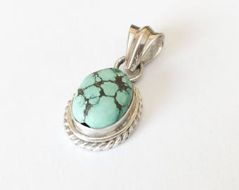 Vintage Turquoise Pendant, Silver and Turquoise Pendant, Natural Turquoise, Sterling Silver Oval Pendant