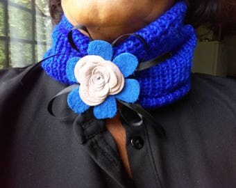 Wool Scarf or Hairband with Leather Flower