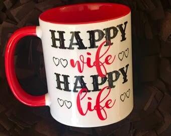 Happy wife, Happy Life two-toned coffee mug