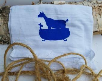 Scrub-a-Dub Goat Tub - Screenprinted Hand Towel