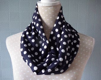 Blue and white polka dot snood scarf,  blue and white jersey cowl, blue loop scarf with white polka dots