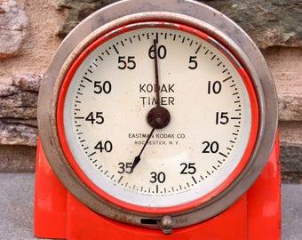 Vintage Red Kodak Darkroom Timer...Photography. Photographs. Old. Retro. Clock. Stop. Start. Hands. Minute. USA. Metal. Swivel. Heavy. Wind.