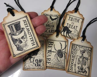6-Gothic Halloween Tags-Halloween Decor-Halloween Gift Tags-Eat Drink and Be Scary Tags-Stamped Halloween Tags